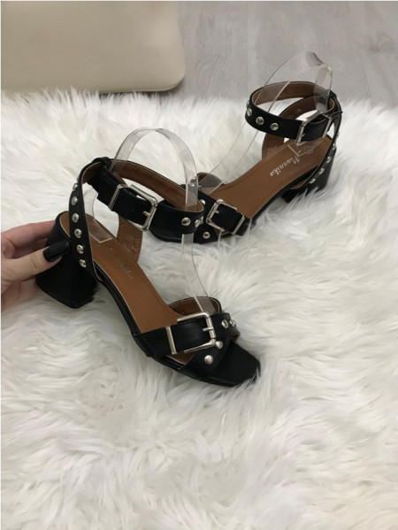 Sandale dama negre cu toc mic S114