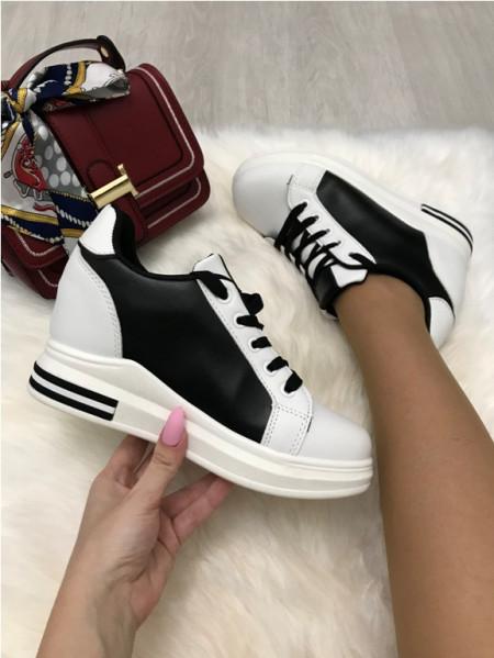 Adidasi dama albi cu negru cu platforma S271