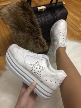 Adidasi dama albi cu platforma