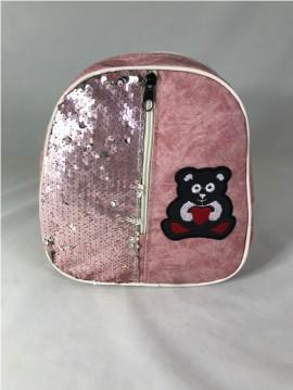 Rucsac roz cu paiete si ursulet