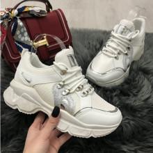 Adidasi dama albi cu platforma S283