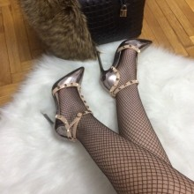 Pantofi dama argintii stiletto