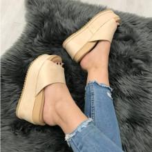 Papuci dama bej cu platforma S25