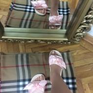 Papuci dama roz cu fundita