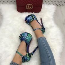 Sandale dama albastre cu toc si platforma