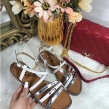 Sandale dama albe cu argintiu