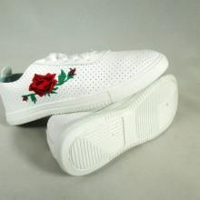 Adidasi dama albi cu floricele S45