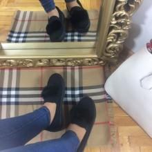 Pantofi dama negri cu puf