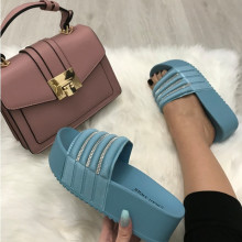 Papuci dama albastrii cu platforma S5