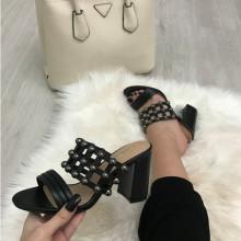Papuci dama negri cu toc S125
