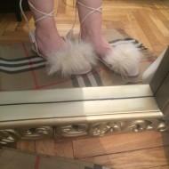 Sandale dama bej cu puf/blanita