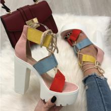 Sandale dama multicolore cu toc S39
