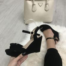Sandale dama negre cu platforma S147
