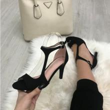 Sandale dama negre cu toc mic S148