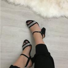 Sandale dama negre cu toc S93