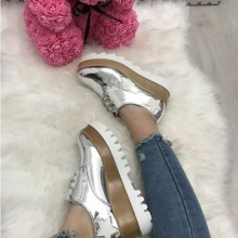 Adidasi dama argintii cu platforma