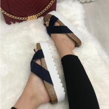 Papuci dama bleumarin cu platforma