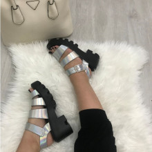 Sandale dama argintii cu platforma S140