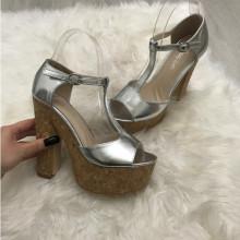 Sandale dama argintii cu toc S129