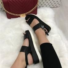 Sandale dama negre cu platforma S132
