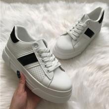 Adidasi dama albi cu platforma S65