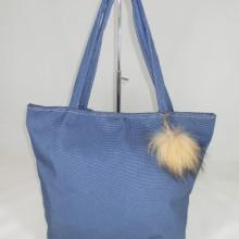 Geanta dama albastra mare cu accesoriu puf