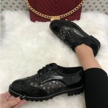 Pantofi dama negri luciosi oxford