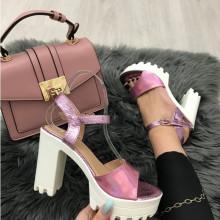 Sandale dama roz cu toc S14