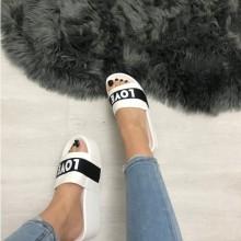 Papuci dama albi cu platforma