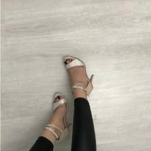 Sandale dama bej nude cu argintiu cu toc S253