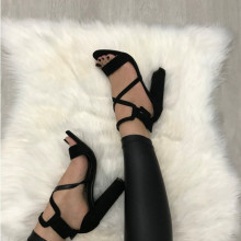 Sandale dama negre cu toc S221
