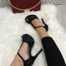 Sandale dama negre cu toc si platforma S199