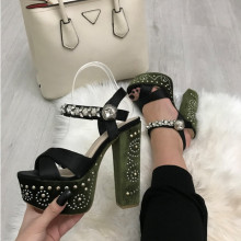 Sandale dama verzi cu toc si platforma S119