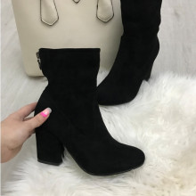 Cizme botine dama negre cu toc imblanite