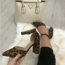 Sandale dama animal print cu toc mic S124