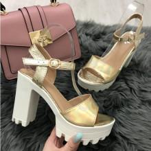 Sandale dama aurii cu toc S13