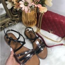 Sandale dama negre cu argintiu