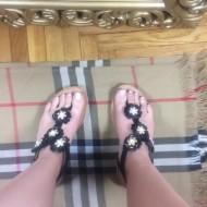 Sandale dama negre cu floricele