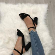 Sandale dama negre cu toc mic piele naturala S30