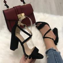 Sandale dama negre cu toc S38