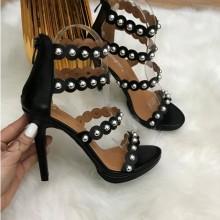 Sandale dama negre cu toc