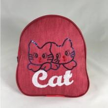 Rucsac rosu cu pisica