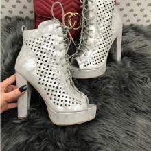 Sandale dama argintii cu toc si platforma S211