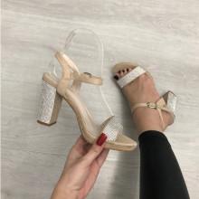 Sandale dama bej cu argintiu cu toc S251