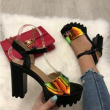 Sandale dama negre cu auriu cu toc S19