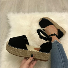 Sandale dama negre cu platforma S164