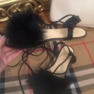 Sandale dama negre cu puf/blana