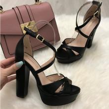 Sandale dama negre cu toc S15