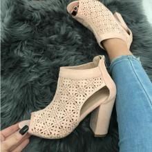 Sandale dama roz cu toc S268