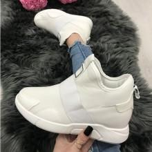 Adidasi dama albi cu platforma ascunsa